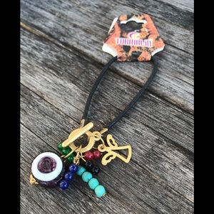 Evil eye & Angel detailed bracelet, Purple